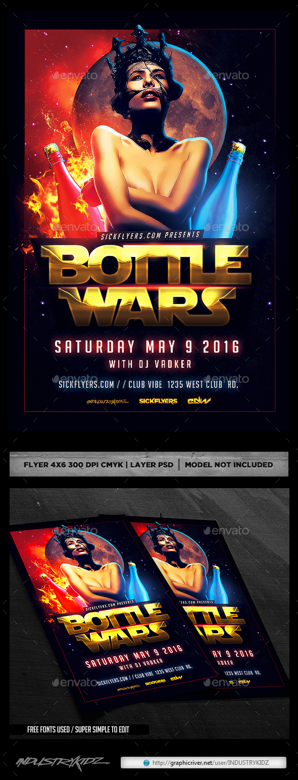 Bottle Wars Flyer PSD - Clubs & Parties Events