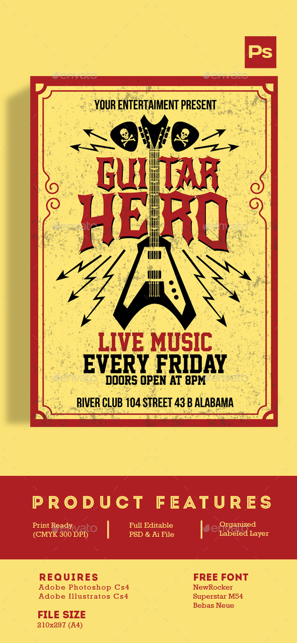 Guitar Hero Flyer - Events Flyers