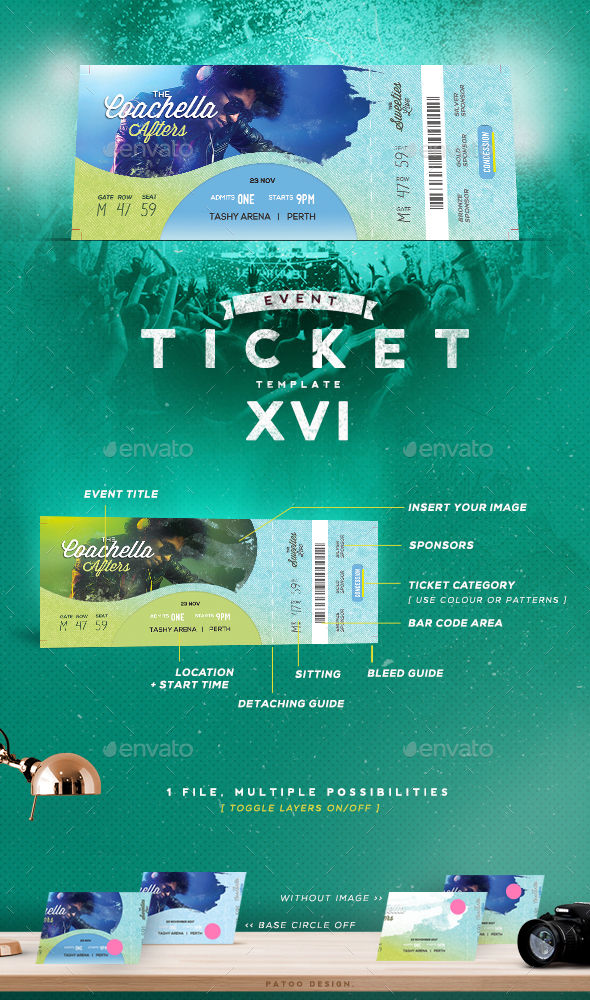Event Tickets Template XVI - Miscellaneous Print Templates