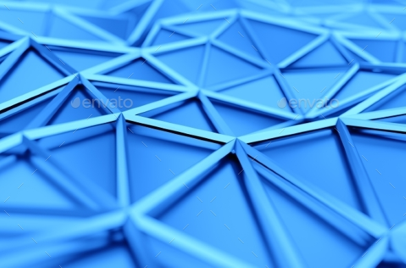 Abstract 3D Rendering Of Low Poly Blue Surface. - Abstract Backgrounds