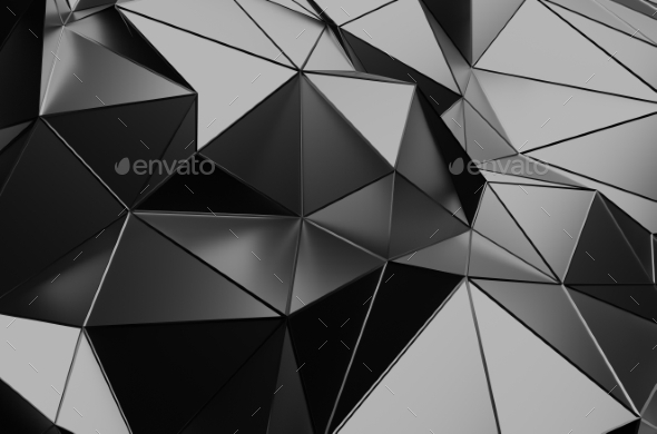 Abstract 3D Rendering Of Low Poly Dark Surface. - Abstract Backgrounds