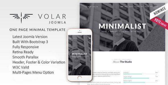 Volar | One Page Minimal Parallax Joomla Template  - Creative Joomla