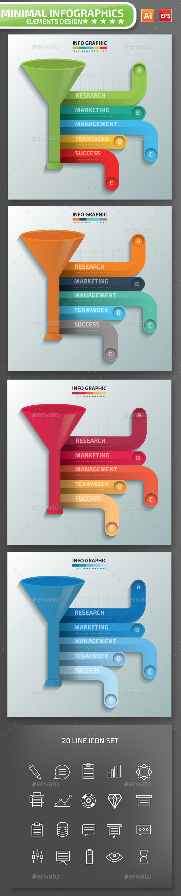Minimal Funnel Infographics-Design 01 - Infographics