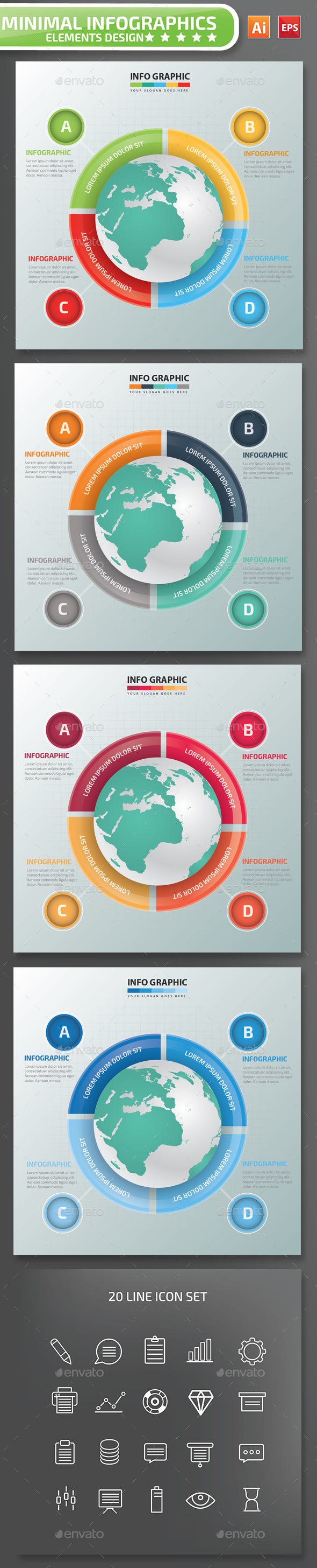 Minimal Global Infographics Design 01 - Infographics