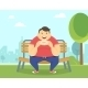 Happy Fat Man Eating a Donut in the Park - GraphicRiver Item for Sale