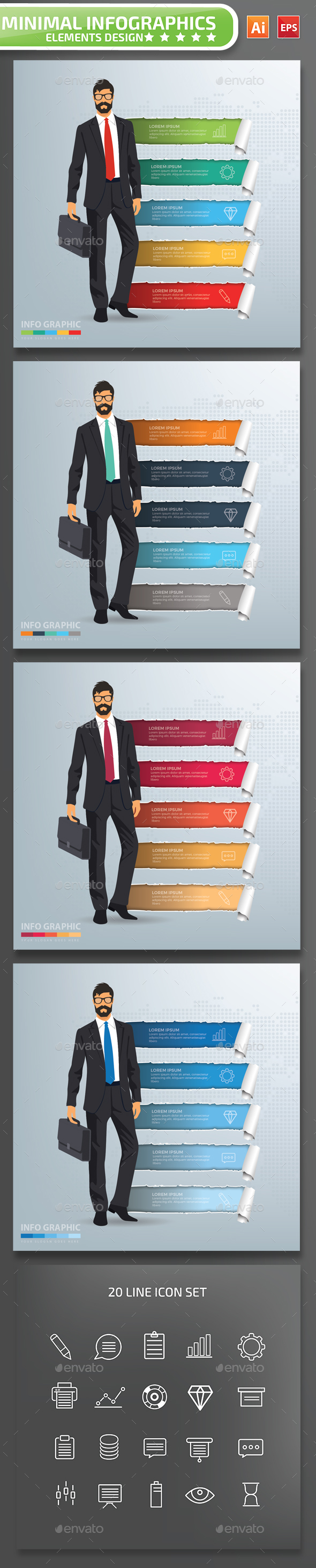 Minimal Businessman Infographics Design Part 2 - Infographics
