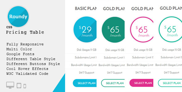Roundy - CSS3 Responsive Pricing Table - CodeCanyon Item for Sale