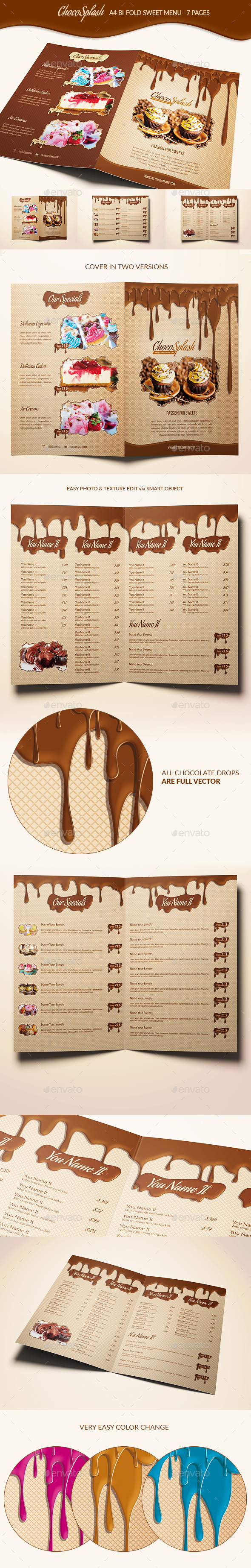 Choco Splash Menu - Food Menus Print Templates