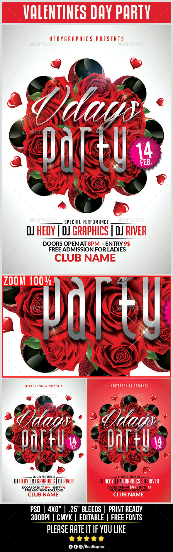 Valentines Day Party - Flyer Template - Clubs & Parties Events