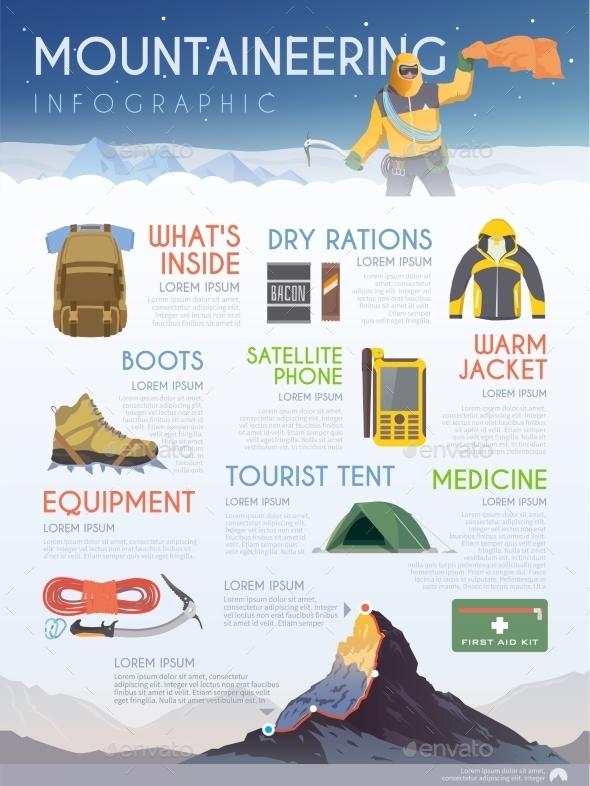 Mountaineering Brochure Infographic - Travel Conceptual