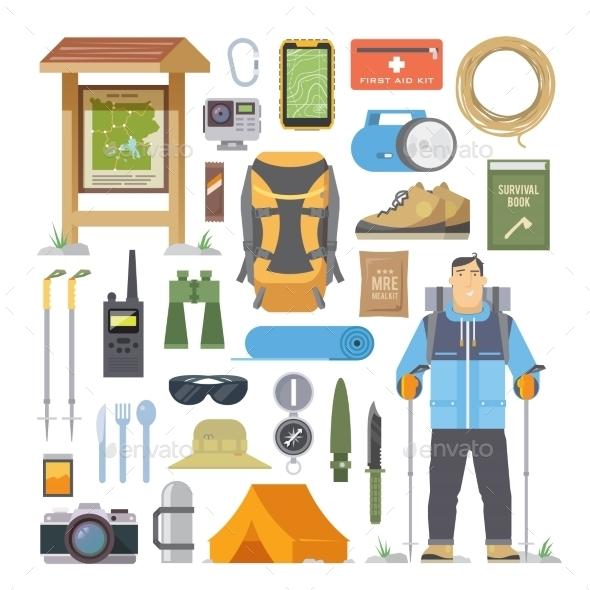 Hiking Flat Elements - Travel Conceptual