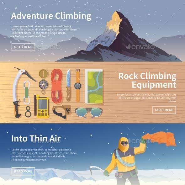 Climbing Flat Web Banners - Travel Conceptual