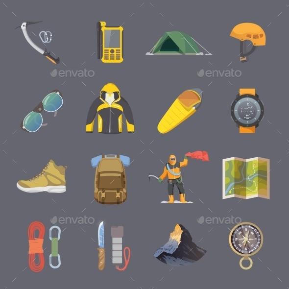 Climbing Flat Icons - Travel Conceptual