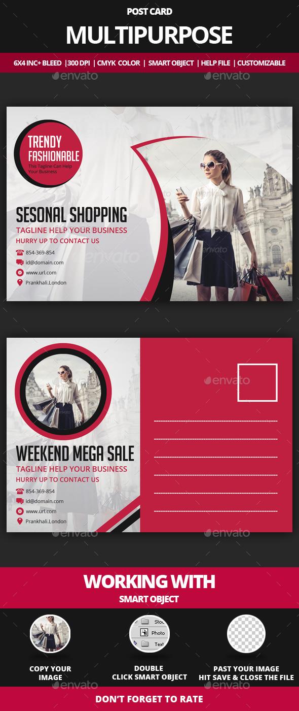 Multipurpose Post Card - Cards & Invites Print Templates