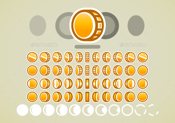 Animated Golden Coins - Sprites Game Assets