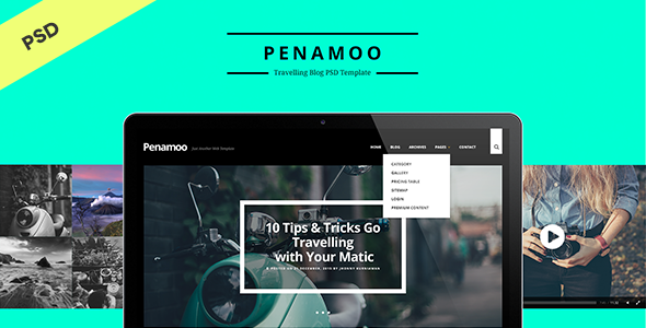 PENAMOO – Traveling Blog PSD Template
