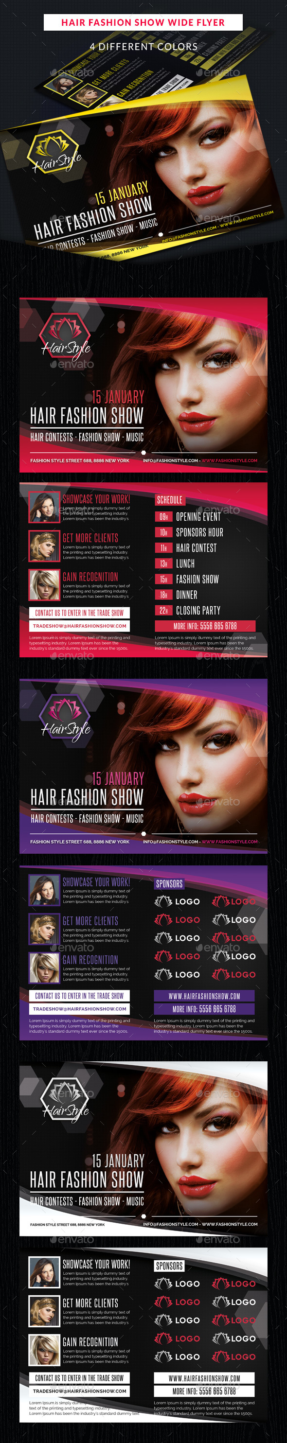 Hair Fashion Show Promotion Wide Flyer - Commerce Flyers