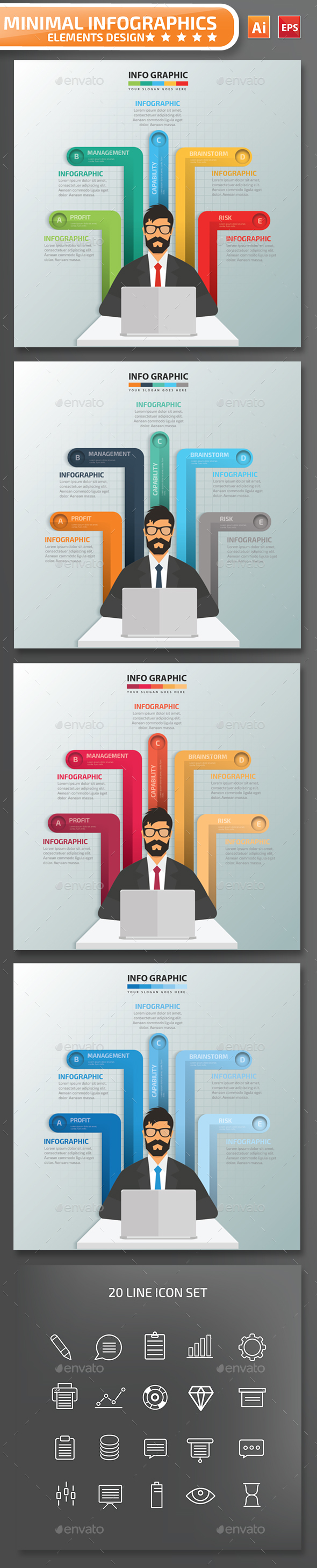 Minimal Buinessman Infographics Design Part 03 - Infographics