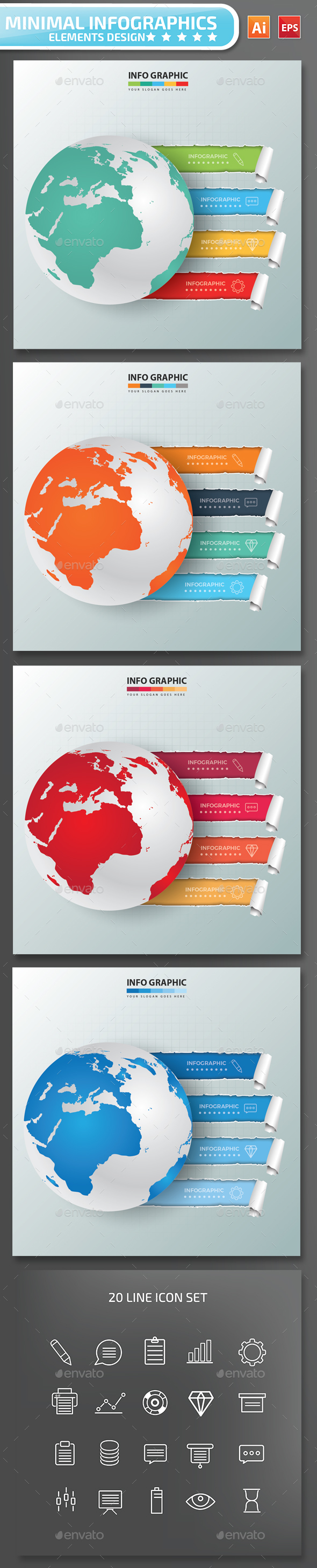 Minimal Global Infographics Design Part 2 - Infographics