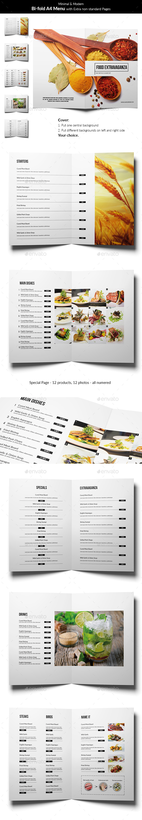 Minimal and Modern Food Menu - Food Menus Print Templates