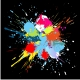 Colourful bright ink splat design at black . - GraphicRiver Item for Sale