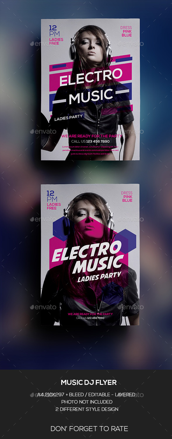 Music DJ Woman Flyer - Clubs & Parties Events