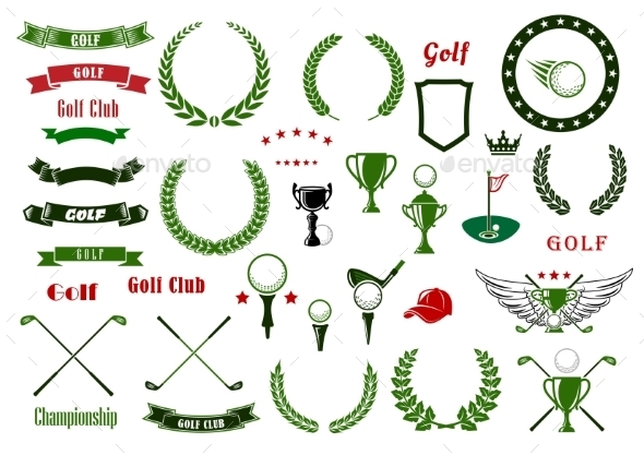Golf And Golfing Sport Elements Or Items - Sports/Activity Conceptual