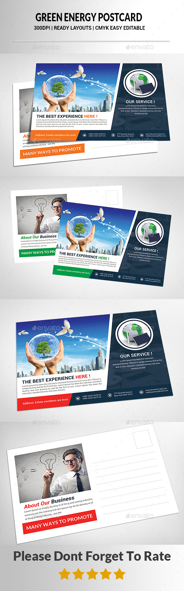 Green Energy Postcard Templates  - Cards & Invites Print Templates
