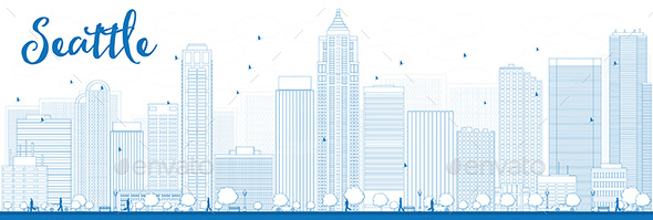 Outline Seattle City Skyline with Blue Buildings - Buildings Objects