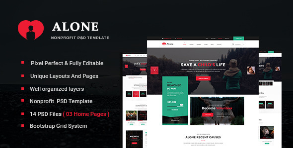 Alone - Multipurpose Non-profit PSD Template