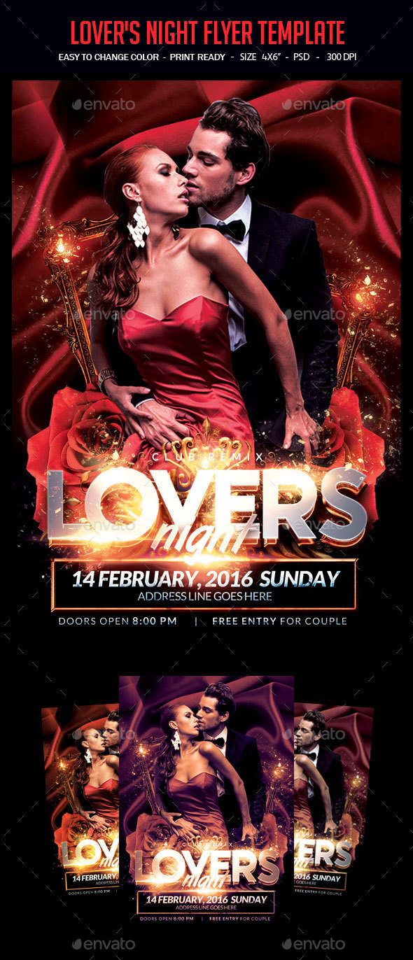 Lover's Night Flyer Template - Clubs & Parties Events