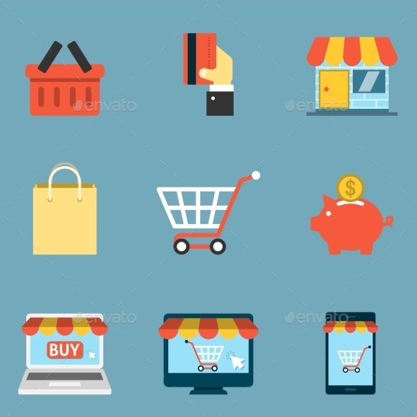 Online Shopping Icons Flat - Business Icons