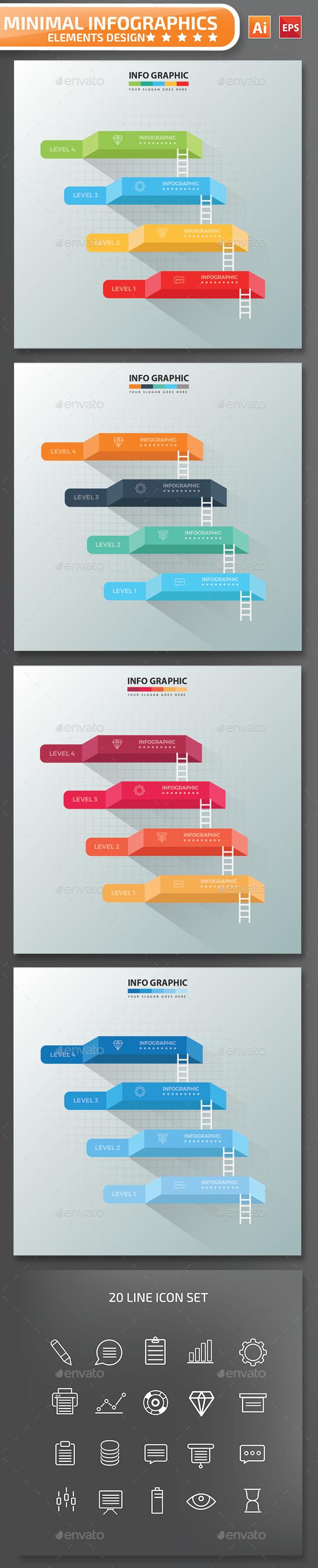 Minimal 4 Steps Infographics Design 01 - Infographics