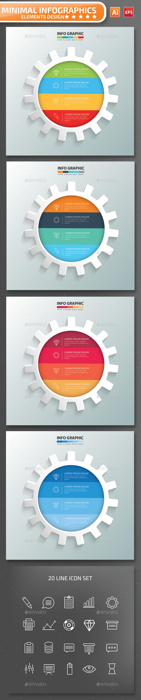 Minimal Gear Infographics Design 01 - Infographics