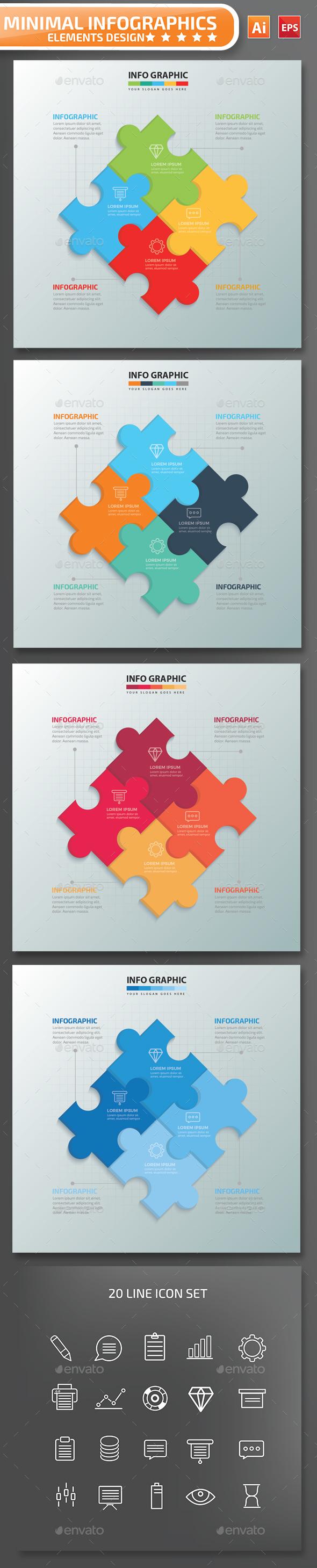 Minimal Puzzle Infographics Design 01 - Infographics