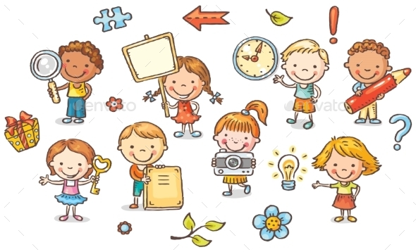 Set Of Cartoon Kids Holding Different Objects - People Characters