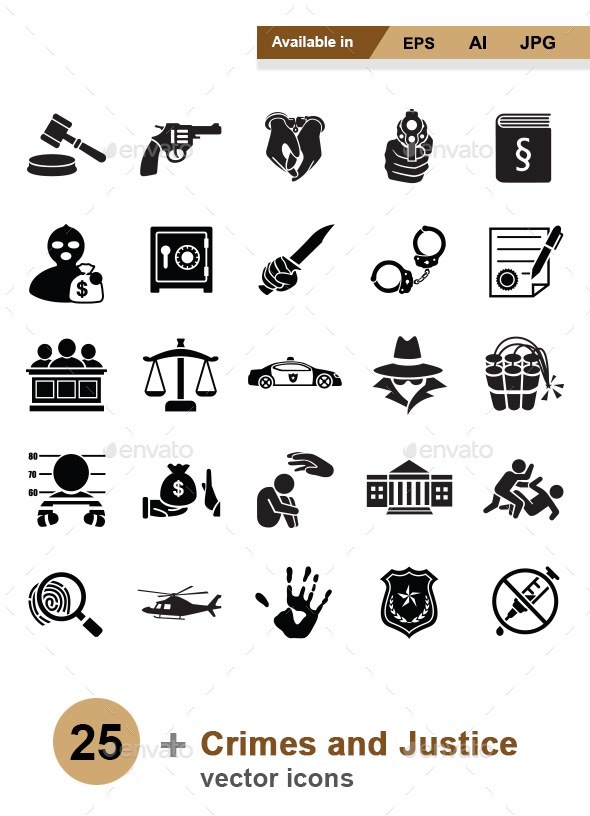 Crimes and Justice vector icons - Man-made objects Objects