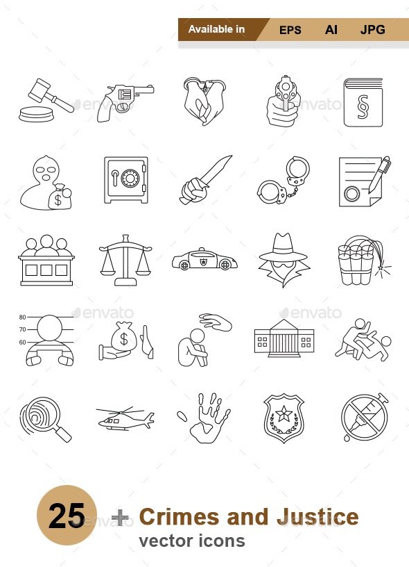 Crimes and Justice Outlines vector icons - Man-made objects Objects