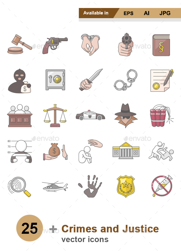 Crimes and Justice Color vector icons - Man-made objects Objects