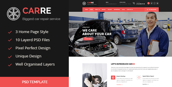 CARRE - Auto Mechanic & Car Repair PSD  - Business Corporate