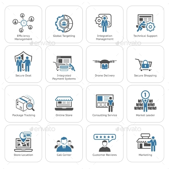 Flat Design Business Icons Set - Business Icons