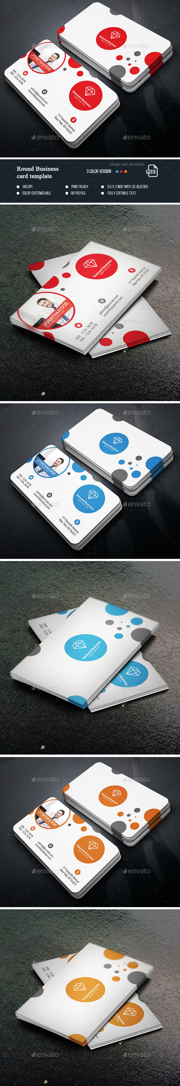 Round Business Card Templates - Business Cards Print Templates