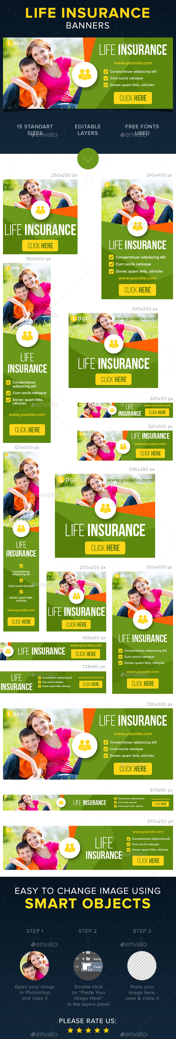 Life & Health Insurance Banners - Banners & Ads Web Elements
