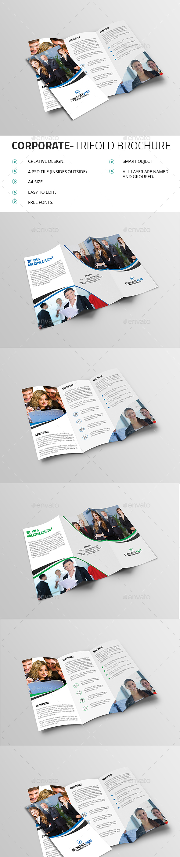 Corporate TriFold Brochure V01 - Brochures Print Templates