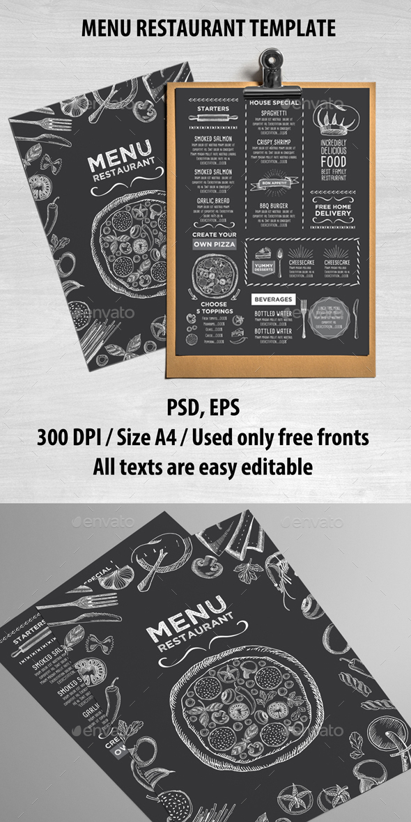 Food Restaurant Template - Food Menus Print Templates