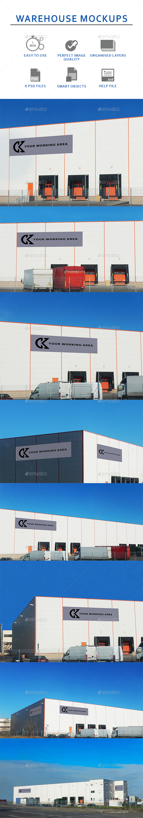Eight Pack Warehouse Mockups - Graphics