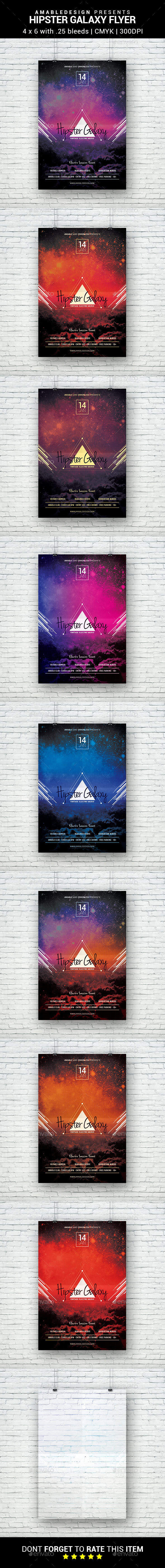 Hipster Galaxy Flyer - Clubs & Parties Events