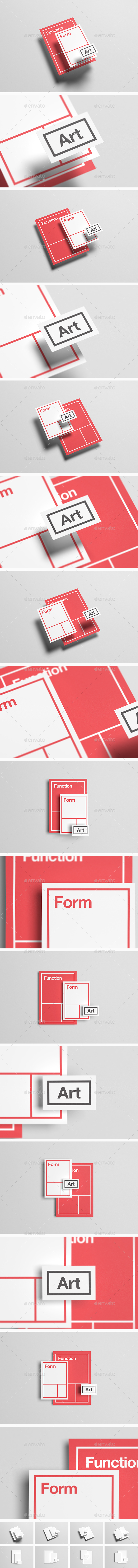 Floating Stationery Mock-Up  - A4, A5, Business Card - Stationery Print