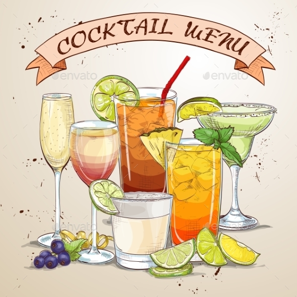 New Era Drinks Coctail Menu - Food Objects