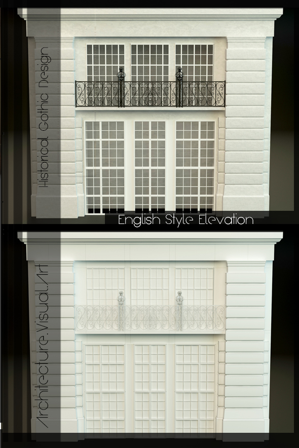 English Style Elevation - 3DOcean Item for Sale